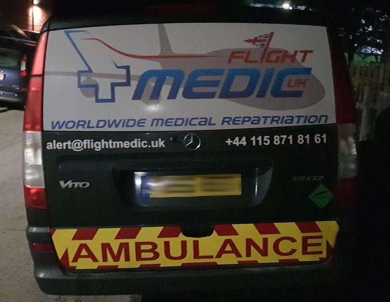 Rear of Flight Medic UK ambulance